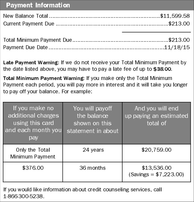 Credit Card Statement Disclosure